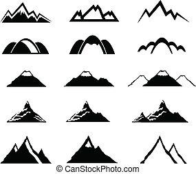 montagne, ensemble, icônes