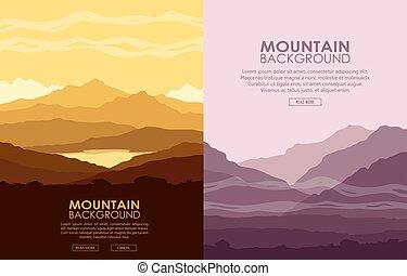 montagne, ensemble, paysages