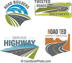 montagne, ensemble, route, autoroute, autoroute, passe, icône
