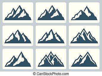 montagne, ensemble, silhouettes, gamme, vecteur, icône