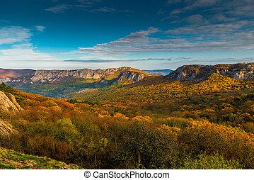 montagne, ensoleillé, automne, vallée, jour, paysage