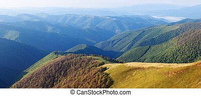 montagne, ensoleillé, panorama, jour, été
