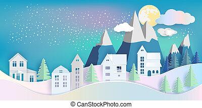 montagne, entiers, hiver, maison, sous, arbre, pin, lune, jaune, nuit, cloud., vue