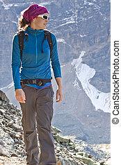 montagne, escursionismo donna