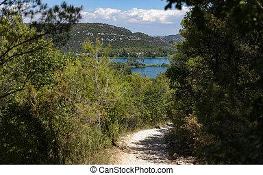 montagne, estate, albero, parco nazionale, lago, traccia, segno, scia, croazia, su di, vista