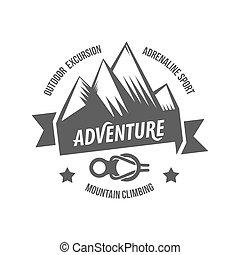 montagne, explorateur, vendange, étiquettes, logo, écusson,...