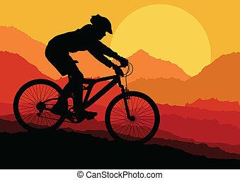 montagne faisant vélo, vecteur, fond, pour, affiche
