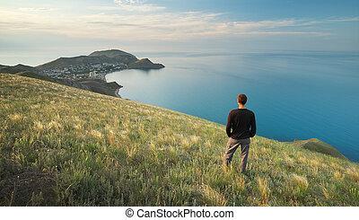 montagne, falaise, sea., edge., homme