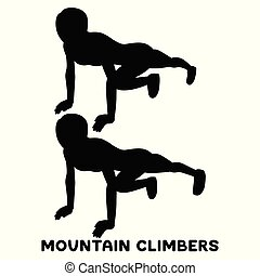 montagne, femme, exersice., climbers., silhouettes, séance entraînement, training., sport, exercise.