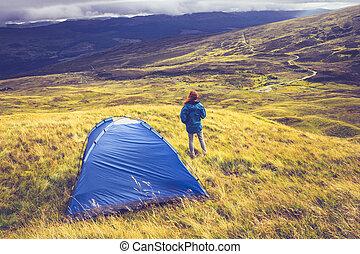 montagne, femme, herbeux, camping, sommet, sauvage
