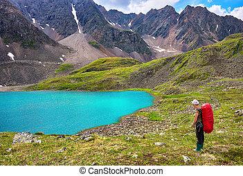 montagne, femme, nature, hiking., sibérien, primitif