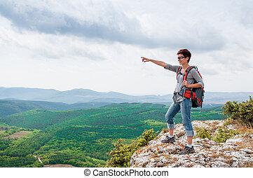 montagne, femme