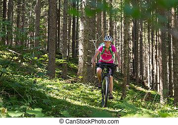montagne, femme, sportif, piste, vélo, forêt, actif, équitation