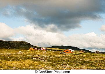 montagne, ferme, dans, norvège