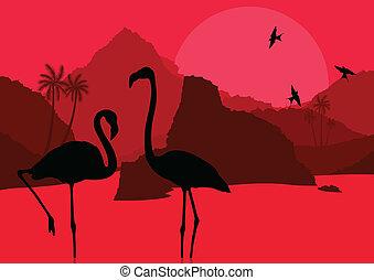 montagne, flamant rose, nature, couple, afrique, illustration, vecteur, fond, sauvage, paysage