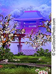 montagne, fleur, arbres cerise, porte, temple