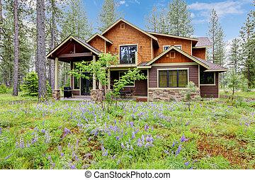 montagne, flowers., forêt, extérieur, maison, cabine