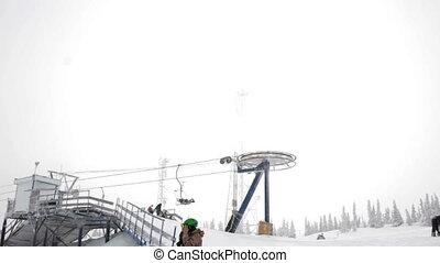 montagne, fonctionnement, neigeux, sommet, ascenseur, jour