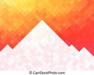 montagne, fond, orange, blanc, carrés, mosaïque