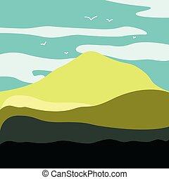 montagne, format, il, arrière-plan., commodité, aube, paysage, utilisation, allongé