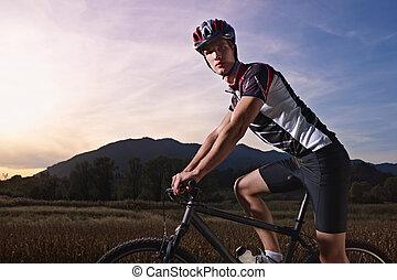 montagne, formation, vélo, coucher soleil, portrait, homme