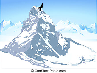 montagne, fort, escalade