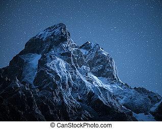 montagne, géorgie, lune, lumière, svanetii, pic, ushba