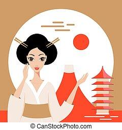montagne, geisha, accueil, fuji, japon, bannière, temple
