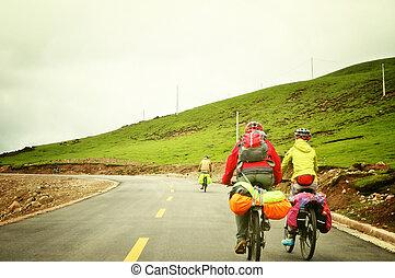 montagne, gens, cyclisme, tibet
