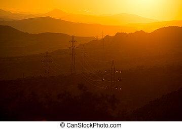 montagne, georgia, paesaggio, sunset.