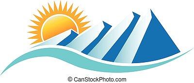 montagne, grafico, soleggiato, vettore, disegno, logo.