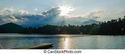 montagne, grande, nord, fumoso, lago, santeetlah, carolina