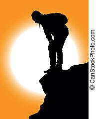 montagne, grimpeurs