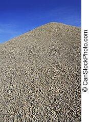 montagne grise, béton, confection, monticule, gravier