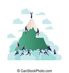 montagne, groupe, avatar, business, caractère