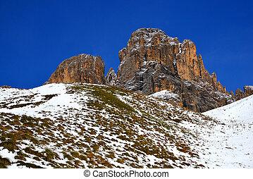 montagne, groupe, tyrol, italy., sassolungo, (langkofel).south