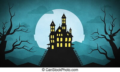 montagne, halloween, chauves-souris, forêt, château, heureux