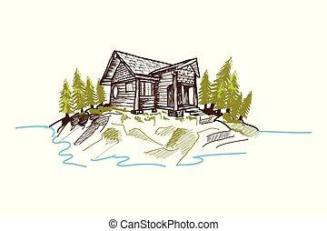 montagne, hand-drawn, cabine