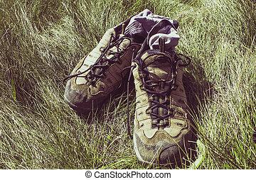 montagne, herbe, chaussettes, bottes