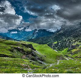 montagne, himalaya, paysage