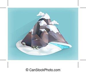 montagne, hiver, icône
