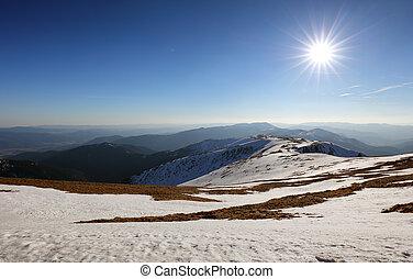 montagne, hiver, landcape