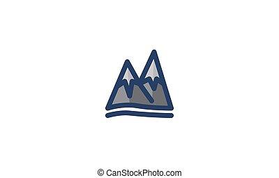montagne, hiver, neige, vecteur, gabarit, icône