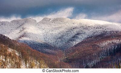 montagne, hiver, neigeux, sommet, jour nuageux