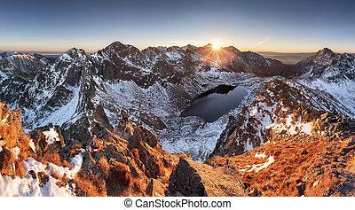 montagne, hiver, panorama, -, élevé, slovaquie, coucher soleil, paysage, tatras