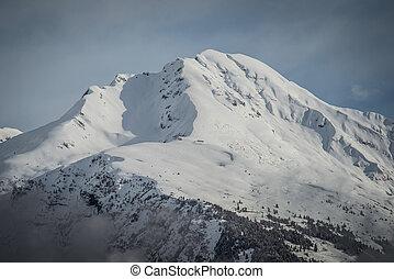 montagne, hiver, paysage