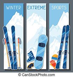 montagne, hiver, paysage., sports, bannières, extrême