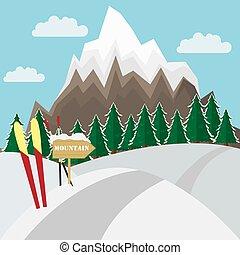 montagne, hiver, plat, snow., vecteur, fond, witn, ski, paysage, illustration.