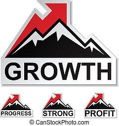 montagne, hiver, profit, vecteur, croissance, autocollants