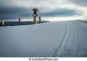 montagne, hiver, saison, scènes, raquette, ski, viginia, ouest